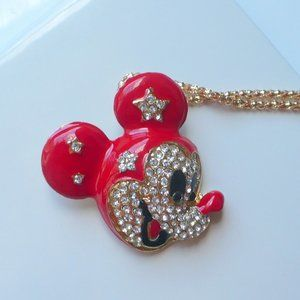 ❤️ Necklace Red & Enamel Rhinestone Mickey Mouse